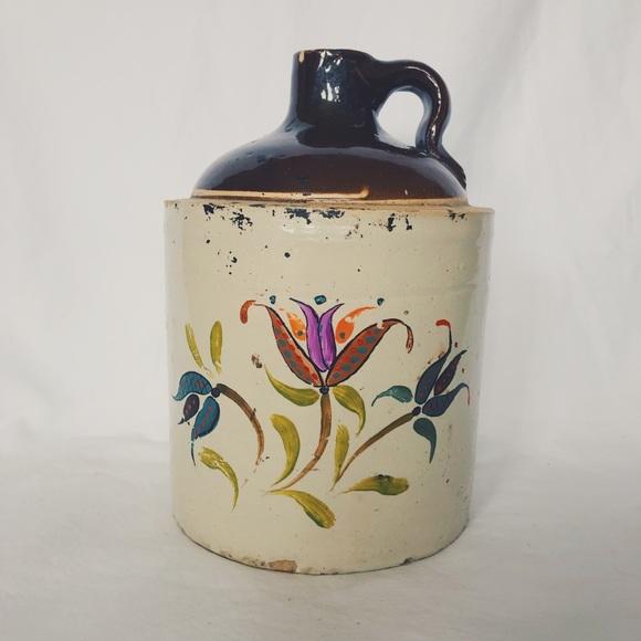 Vintage Antique Scandinavian Floral Painted Jug